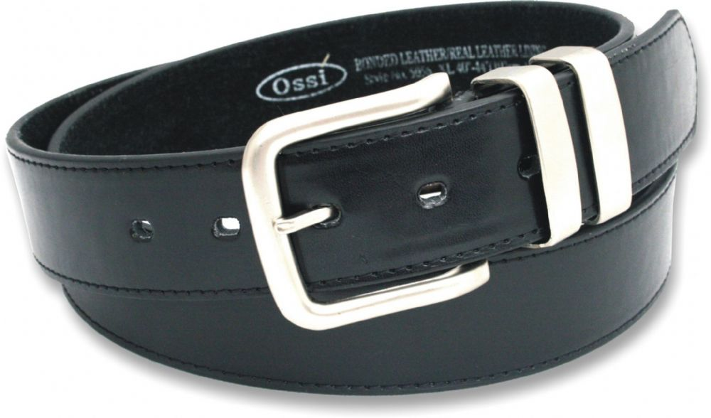 "Mens 1.5"" Leather Lined Belt in Black with Double Loop"